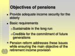 objectives of pensions