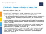 pathfinder research projects overview