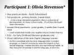 participant 1 olivia stevenson