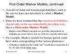 first order markov models continued