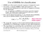 use of hmms for classification