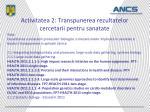 activitatea 2 transpunerea rezultatelor cercetarii pentru sanatate
