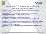 activitatea 2 transpunerea rezultatelor cercetarii pentru sanatate1