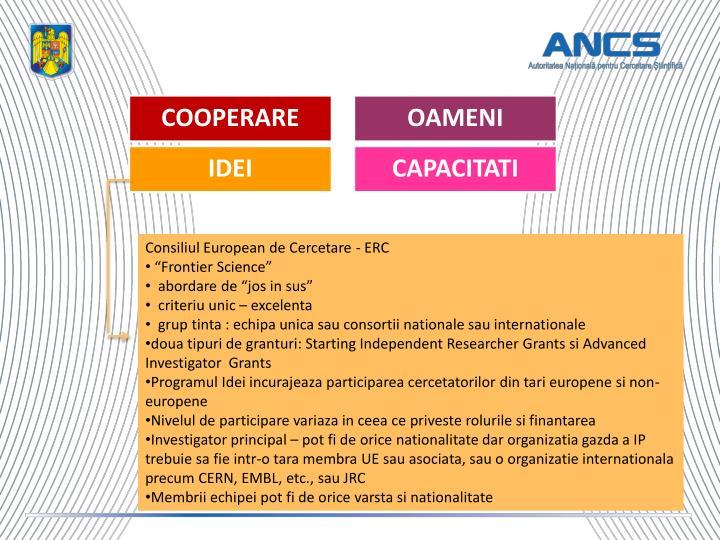 Consiliul European de Cercetare - ERC