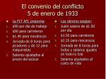 el convenio del conflicto 5 de enero de 1933