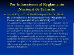 por infracciones al reglamento nacional de tr nsito
