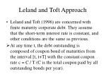 leland and toft approach