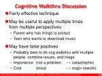 cognitive walkthru discussion