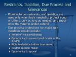 restraints isolation due process and grievances