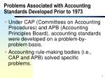 problems associated with accounting standards developed prior to 1973