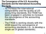 the convergence of the u s accounting standards and the international accounting standards
