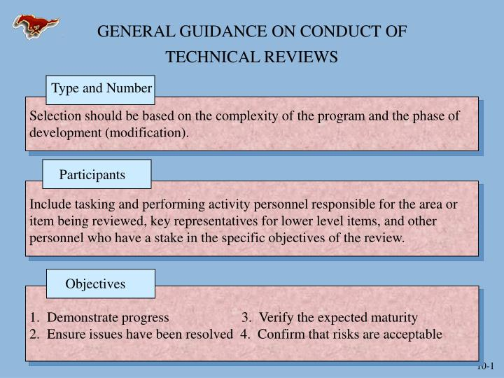 general guidance on conduct of technical reviews n.