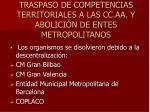 traspaso de competencias territoriales a las cc aa y abolici n de entes metropolitanos