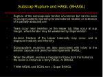 subscap rupture and hagl bhagl
