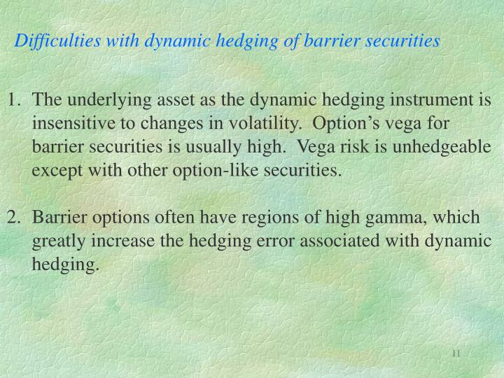 Difficulties with dynamic hedging of barrier securities