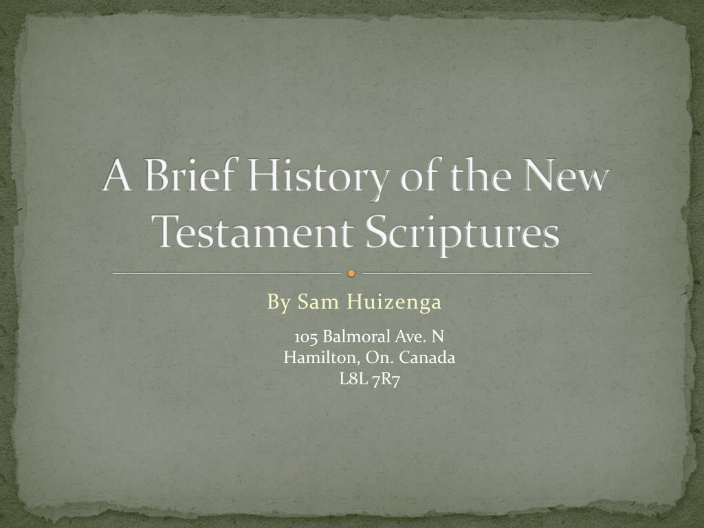 a brief history of the new testament scriptures l.