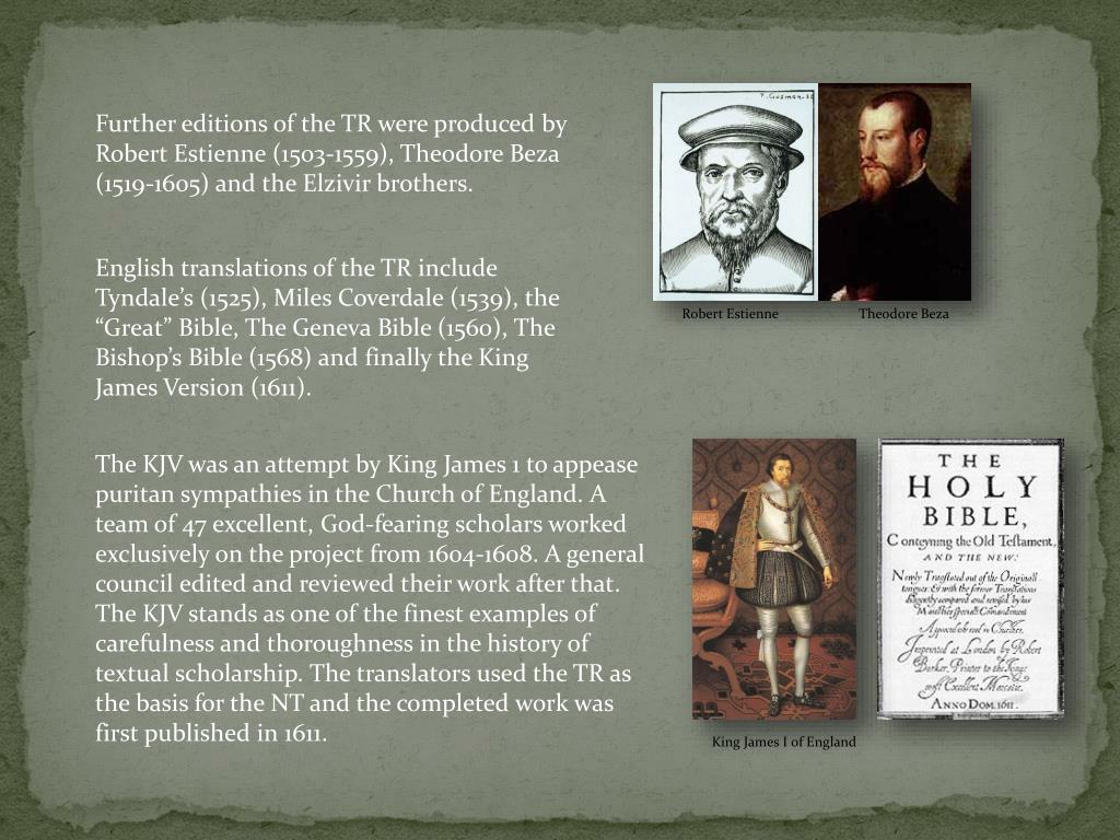 Further editions of the TR were produced by Robert Estienne (1503-1559), Theodore