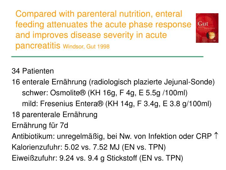 Compared with parenteral nutrition, enteral feeding attenuates the acute phase response and improves disease severity in acute pancreatitis