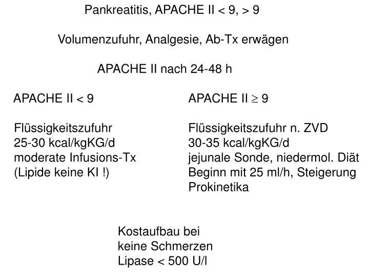 Pankreatitis, APACHE II < 9, > 9