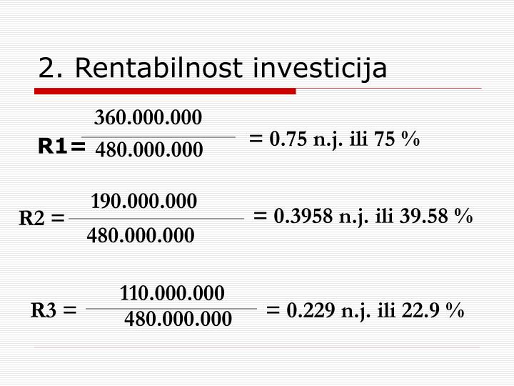 2. Rentabilnost investicija
