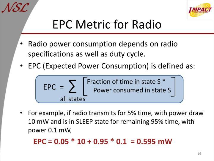EPC Metric for Radio