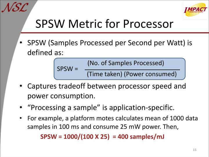 SPSW Metric for Processor