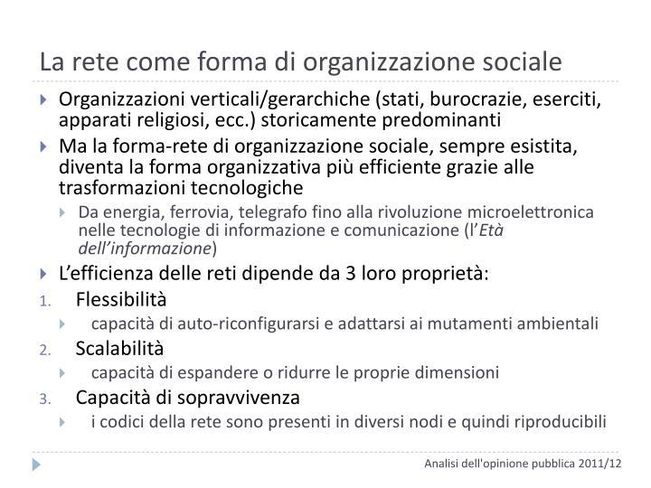 La rete come forma di organizzazione sociale