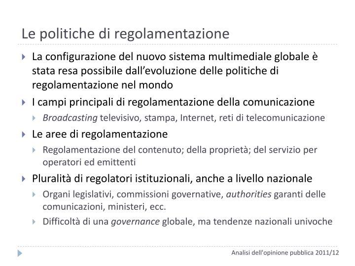 Le politiche di regolamentazione
