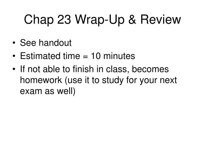 Chap 23 Wrap-Up & Review