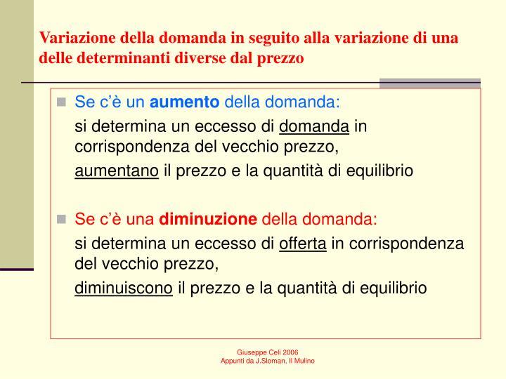 Variazione della domanda in seguito alla variazione di una delle determinanti diverse dal prezzo