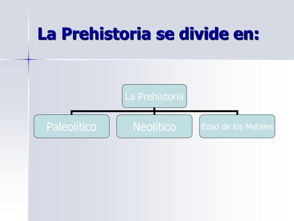 La Prehistoria se divide en: