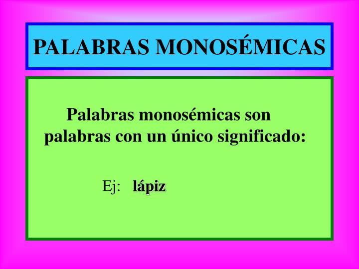 PALABRAS MONOSÉMICAS