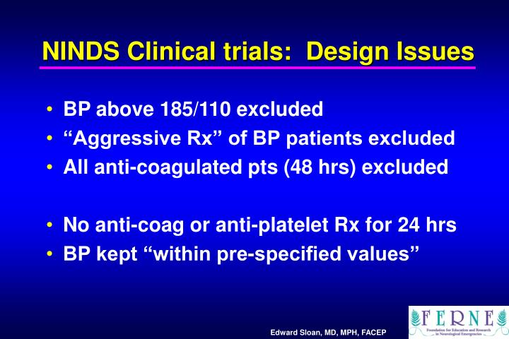 NINDS Clinical trials:  Design Issues