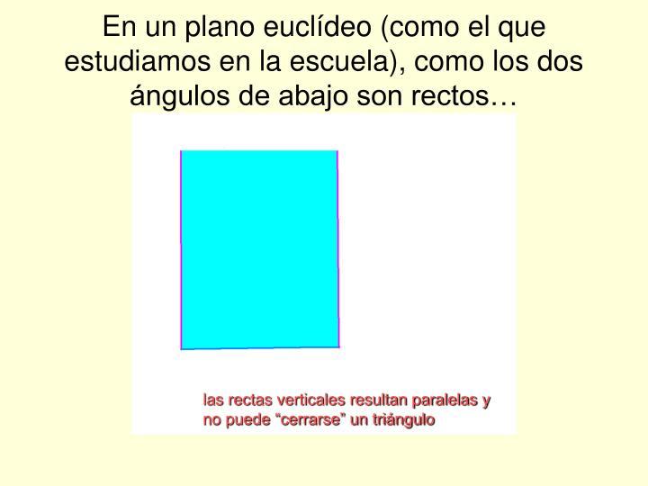 En un plano euclídeo (como el que estudiamos en la escuela), como los dos ángulos de abajo son rectos…