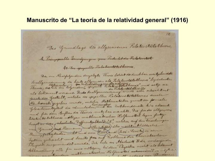 """Manuscrito de """"La teoría de la relatividad general"""" (1916)"""