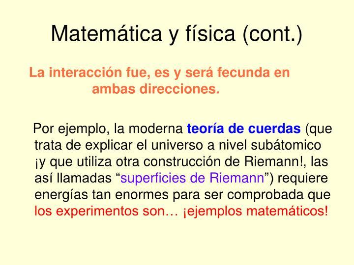 Matemática y física (cont.)