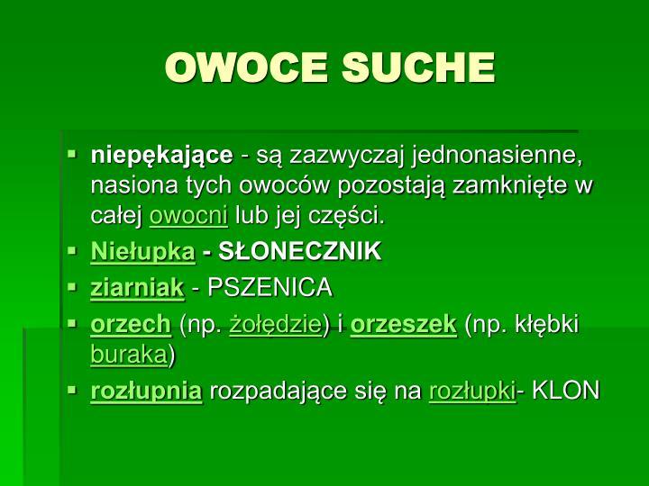OWOCE SUCHE