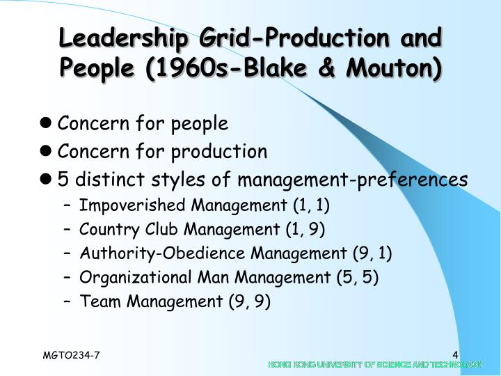 Leadership Grid-Production and People (1960s-Blake & Mouton)