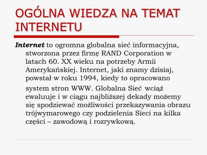 Og lna wiedza na temat internetu