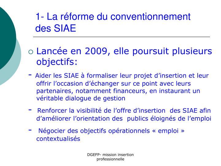 1- La réforme du conventionnement des SIAE
