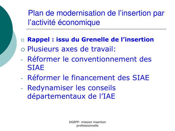 Plan de modernisation de l'insertion par l'activité économique