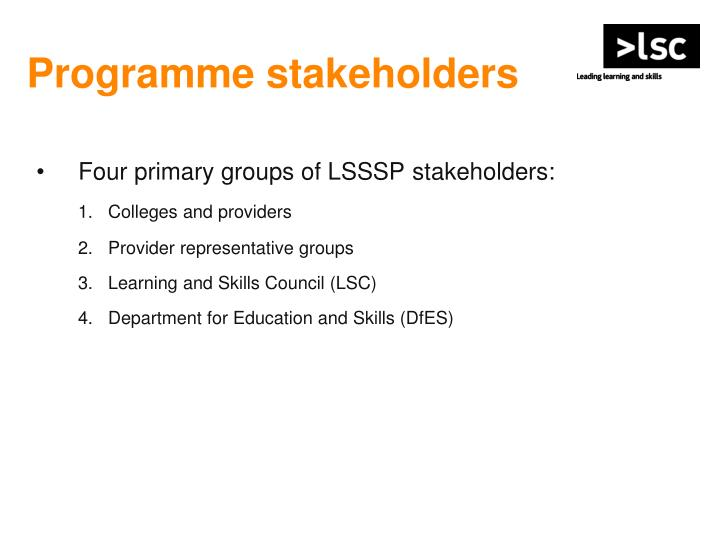 Programme stakeholders