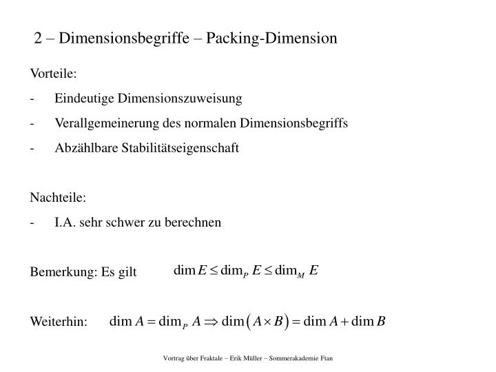 2 – Dimensionsbegriffe – Packing-Dimension