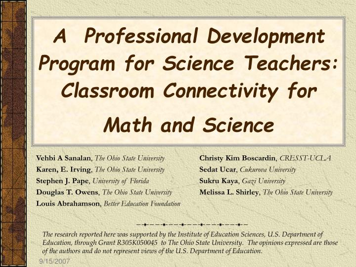 PPT - A Professional Development Program for Science