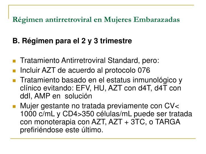 Régimen antirretroviral en Mujeres Embarazadas