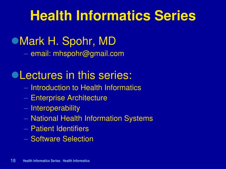 introduction to health informatics nursing essay View this essay on nursing informatics is important to the health with informatics, health care workers can rely on information to implement as evidence-based practice therefore, nurses should be vocal advocates for informatics in their organizations.