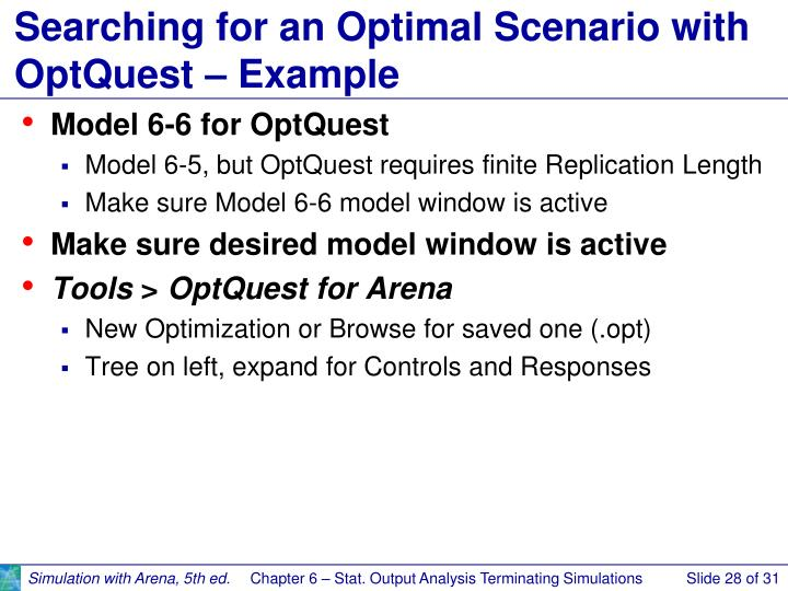 Searching for an Optimal Scenario with OptQuest – Example