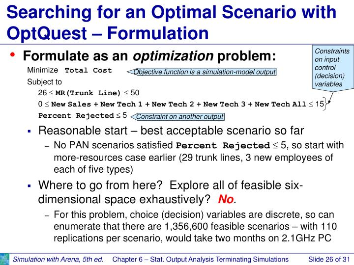 Searching for an Optimal Scenario with OptQuest – Formulation