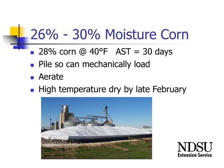26% - 30% Moisture Corn