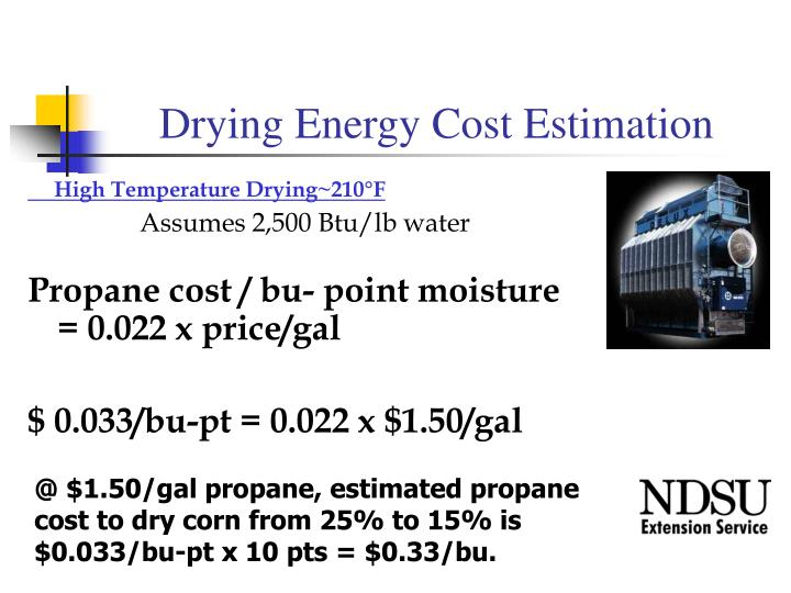 Drying Energy Cost Estimation